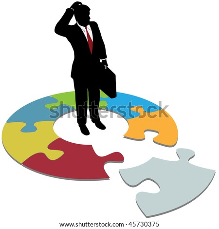 A business person searches to find solution piece and question answers. - stock vector