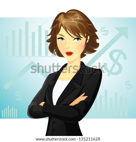 A business woman wearing a suit with her arms folded with chart background - stock vector