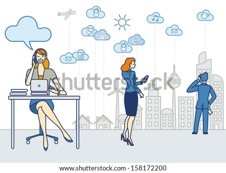 A business woman working in an office. She talk on the phone and working with a laptop. Behind she the skyline of a city with skyscrapers. Clouds and symbols of cloud computing. - stock vector