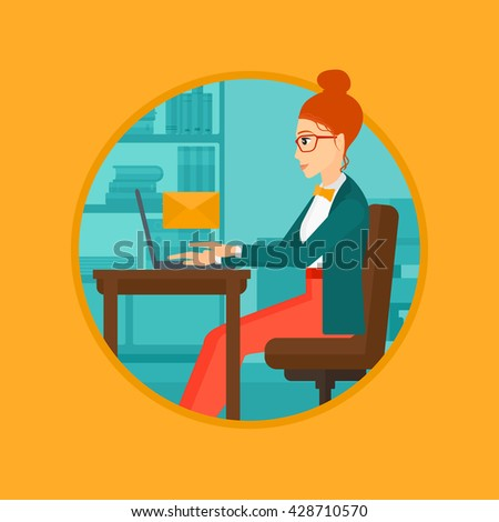 A business woman working on her laptop in office and receiving or sending email. Business technology, email concept. Business vector flat design illustration in the circle isolated on background. - stock vector