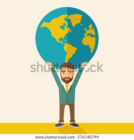 A businessman carrying big globe it is a symbol that he is number one in the world in business society. A Contemporary style with pastel palette, soft beige tinted background. Vector flat design - stock vector