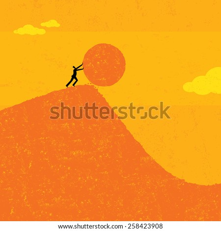 A businessman getting the ball rolling. The man & boulder and background are on separate labeled layers. - stock vector
