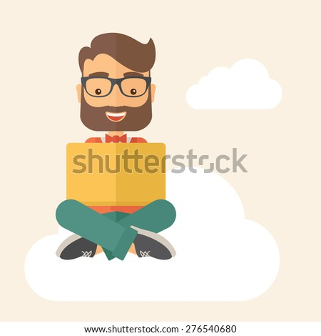 A Businessman having a great idea while reading a book. Business concept. A Contemporary style with pastel palette, soft beige tinted background. Vector flat design illustration. Square layout - stock vector