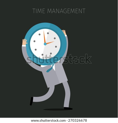 A businessman holding a clock. Concept of effective time management. Flat design vector business illustration - stock vector