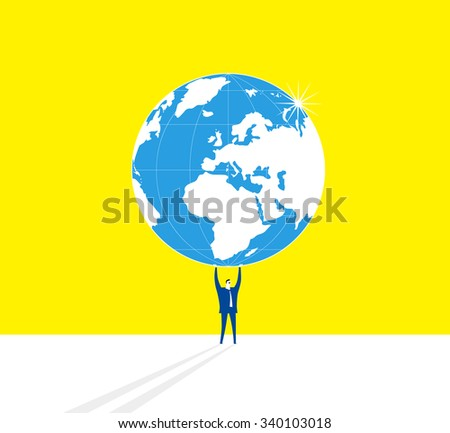A businessman is standing and holding up whole Earth.