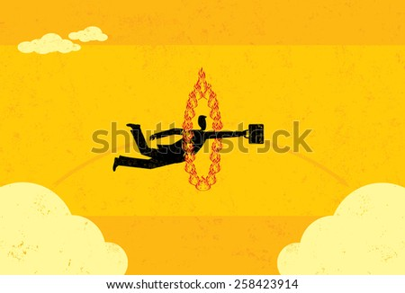 A businessman jumping through a fire hoop and realizing that sometimes it's difficult to get from A to B. The man and fire hoop are on a separate labeled layer from the background. - stock vector