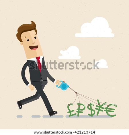 A businessman or manager holds world currencies on a leash like a dog.  Icons of dollar, euro, ruble, yen, pound.  Vector illustration - stock vector