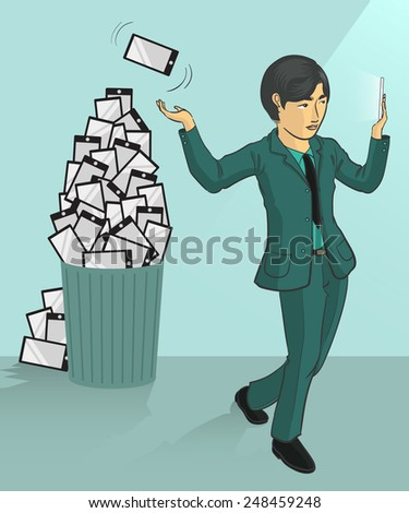 a businessman tossing his old smartphone to trash can - stock vector