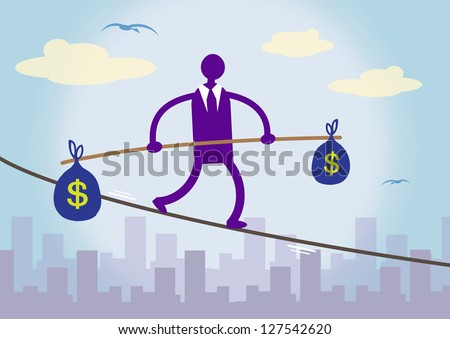 A businessman walking on a tightrope over a city, balancing two large bags of Dollar money. A metaphor about financial prudence.