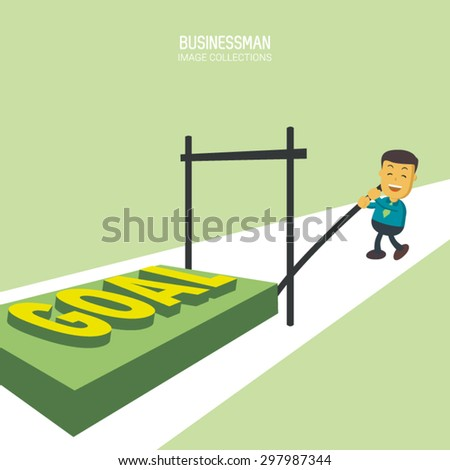 A businessman with a happy  face running to jump on a bar to reach his goal. A metaphor of a person who capable to finish his task in business, Perfect to use for website or magazine illustration - stock vector