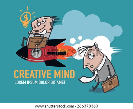 A businessman with a quick idea of the missile is deployed to the article. Business and Media - stock vector