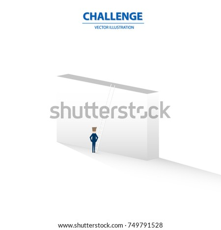 A businessman with an obstacle like a big wall in front and time to make a decision. Business concept for leader, decision and challenging. Vector illustration.