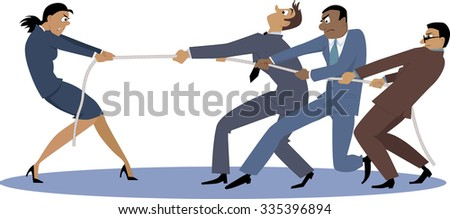 A businesswoman in tug of war with a group of male coworkers, EPS 8 vector illustration - stock vector