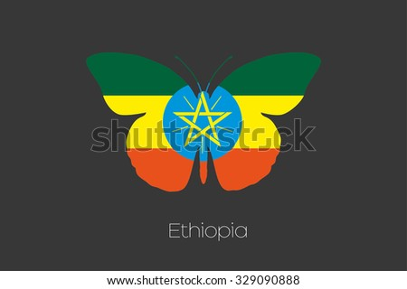 A Butterfly with the flag of Ethiopia - stock vector