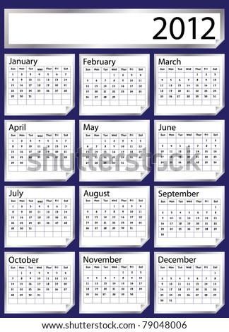 A 2012 calendar created with silver stickers. Space for text or Company name. EPS10 vector format. Also now available in my portfolio in 2013 version. - stock vector