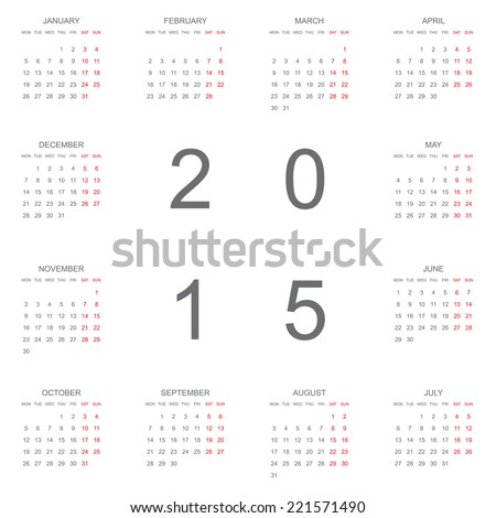A 2015 Calendar isolated on white background