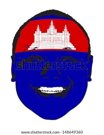 A Cambodia flag on a face, isolated against white.  - stock vector