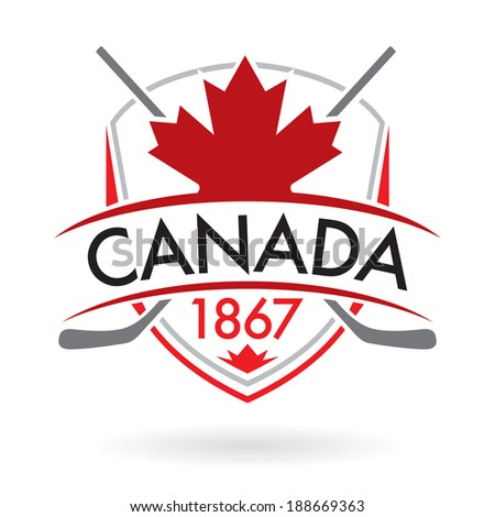 A Canadian crest with crossed hockey sticks in vector format.