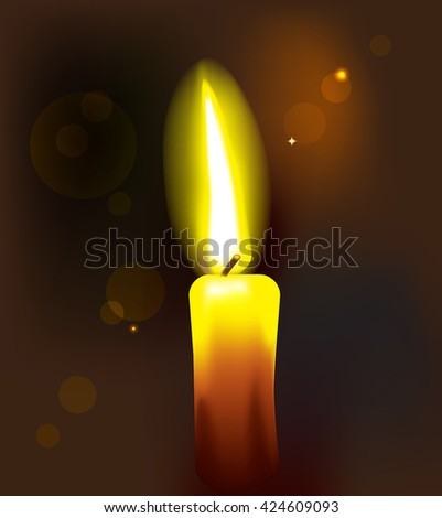 A candle burning on a dark background. Vector illustration.