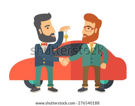 A Car sale handed to other man. A Contemporary style with pastel palette. Vector flat design illustration isolated on white background.  - stock vector