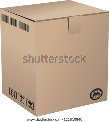 A Cardboard Box - stock vector