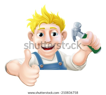 A carpenter or builder holding a claw hammer and giving a thumbs up while peeking over a sign or banner  - stock vector