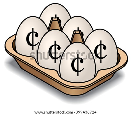 A carton of 6 white eggs. Marked with cent signs. - stock vector