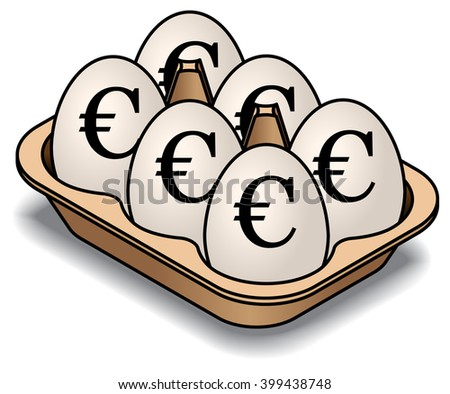 A carton of 6 white eggs. Marked with euro signs. - stock vector