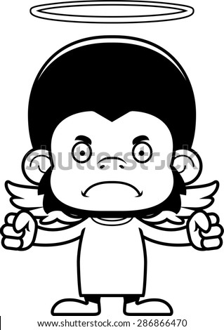 A cartoon angel chimpanzee looking angry.