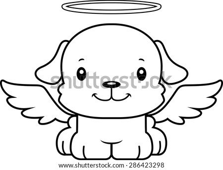 A cartoon angel puppy smiling. - stock vector
