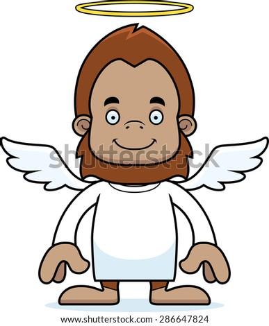 A cartoon angel sasquatch smiling. - stock vector