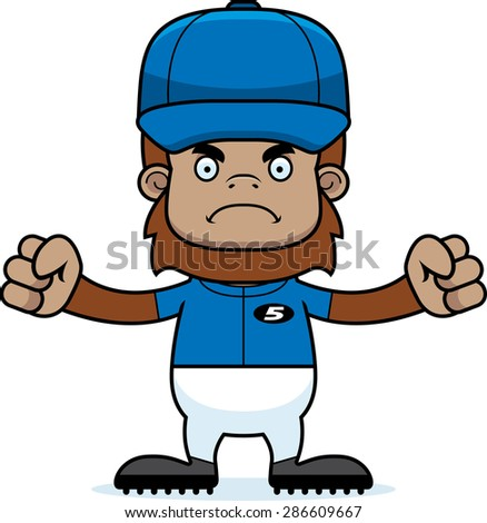 A cartoon baseball player sasquatch looking angry.