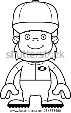 A cartoon baseball player sasquatch smiling.