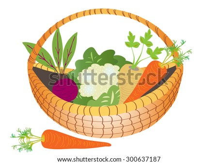 A cartoon basket of vegetables
