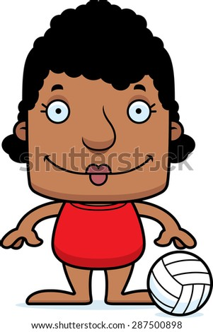 A cartoon beach volleyball player woman smiling.