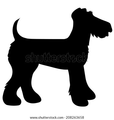A cartoon black silhouette of an Airedale Terrier - stock vector