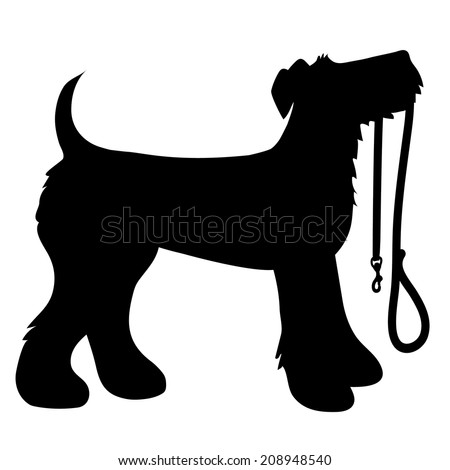 A cartoon black silhouette of an Airedale Terrier with a leash in its mouth - stock vector