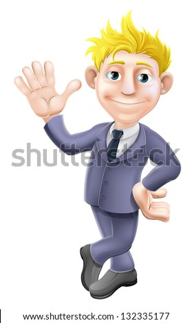 A cartoon blonde business man mascot in a suit waving