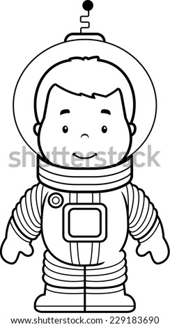 A cartoon boy astronaut in a spacesuit. - stock vector