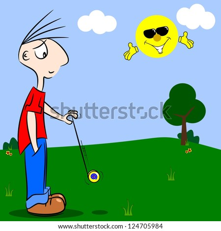 A cartoon boy playing with a yo-yo in the park - stock vector