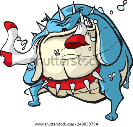 A cartoon Bulldog with a sock in it's mouth. Layered vector file available. Bad Dog. - stock vector