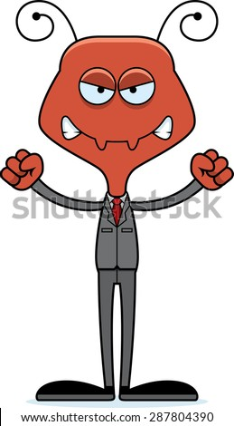 A cartoon businessperson ant looking angry. - stock vector
