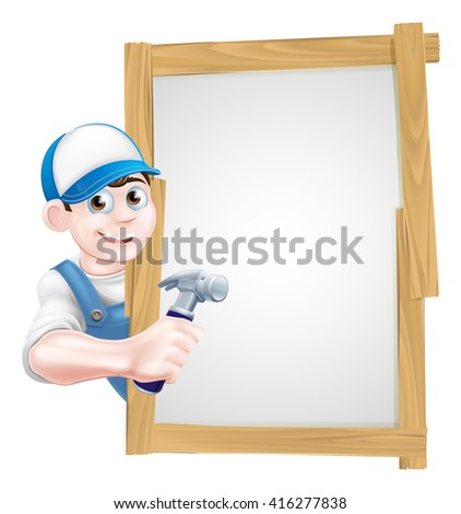 A cartoon carpenter or builder holding a hammer tool and peeking around a sign - stock vector