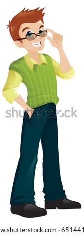A cartoon character of an attractive young man - stock vector