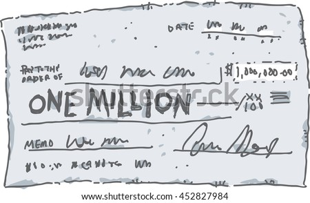 A cartoon check filled out in the amount of one million dollars. - stock vector