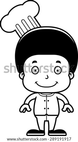 A cartoon chef boy smiling.