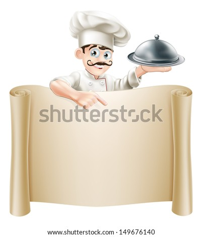 A cartoon chef character holding a silver platter or cloche pointing at a scroll or menu - stock vector