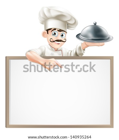 A cartoon chef character holding a silver platter or cloche pointing at sign - stock vector