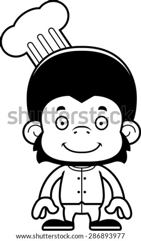 A cartoon chef chimpanzee smiling.
