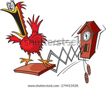 A cartoon cuckoo clock. layered vector and high resolution jpeg. Cuckoo Clock.